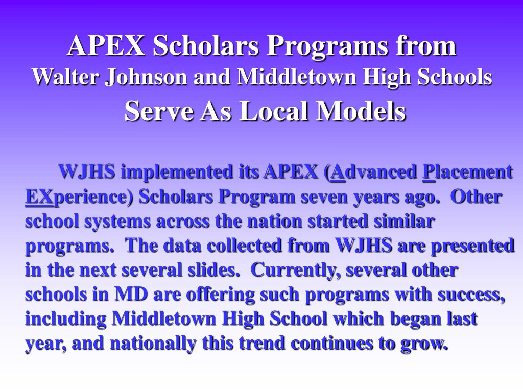 APEX Scholars Programs from