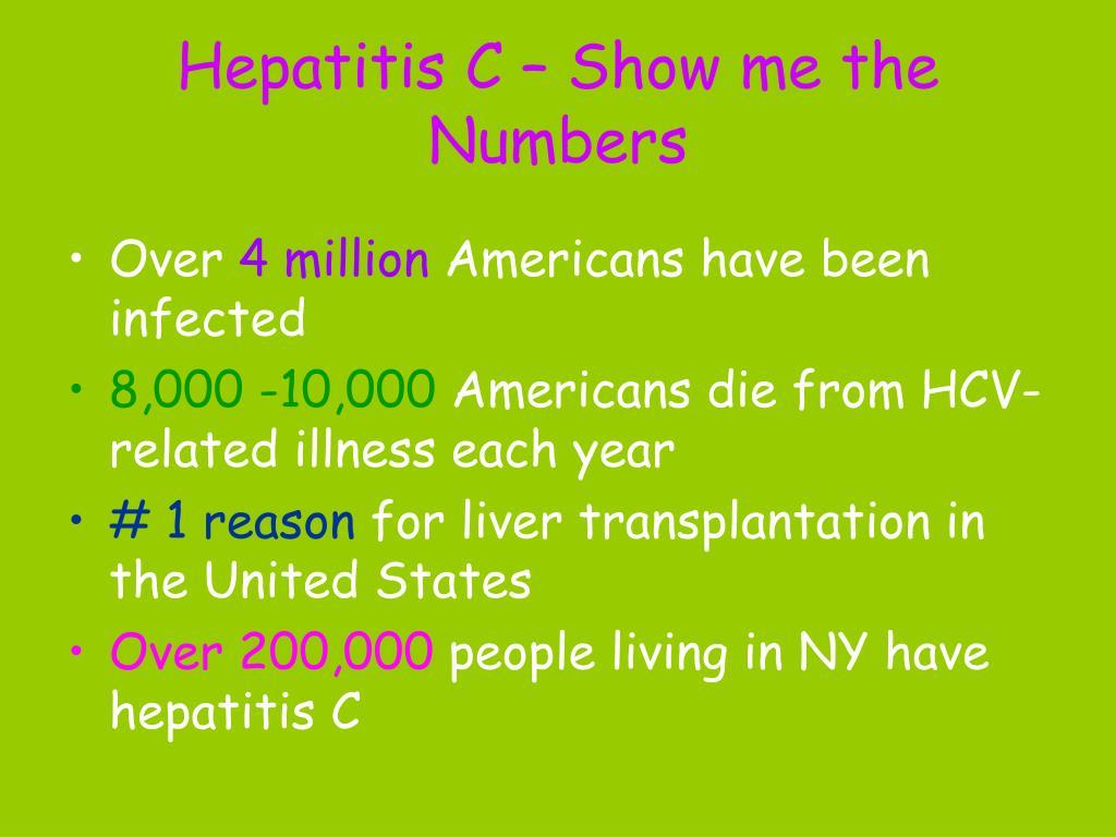 Hepatitis C – Show me the Numbers