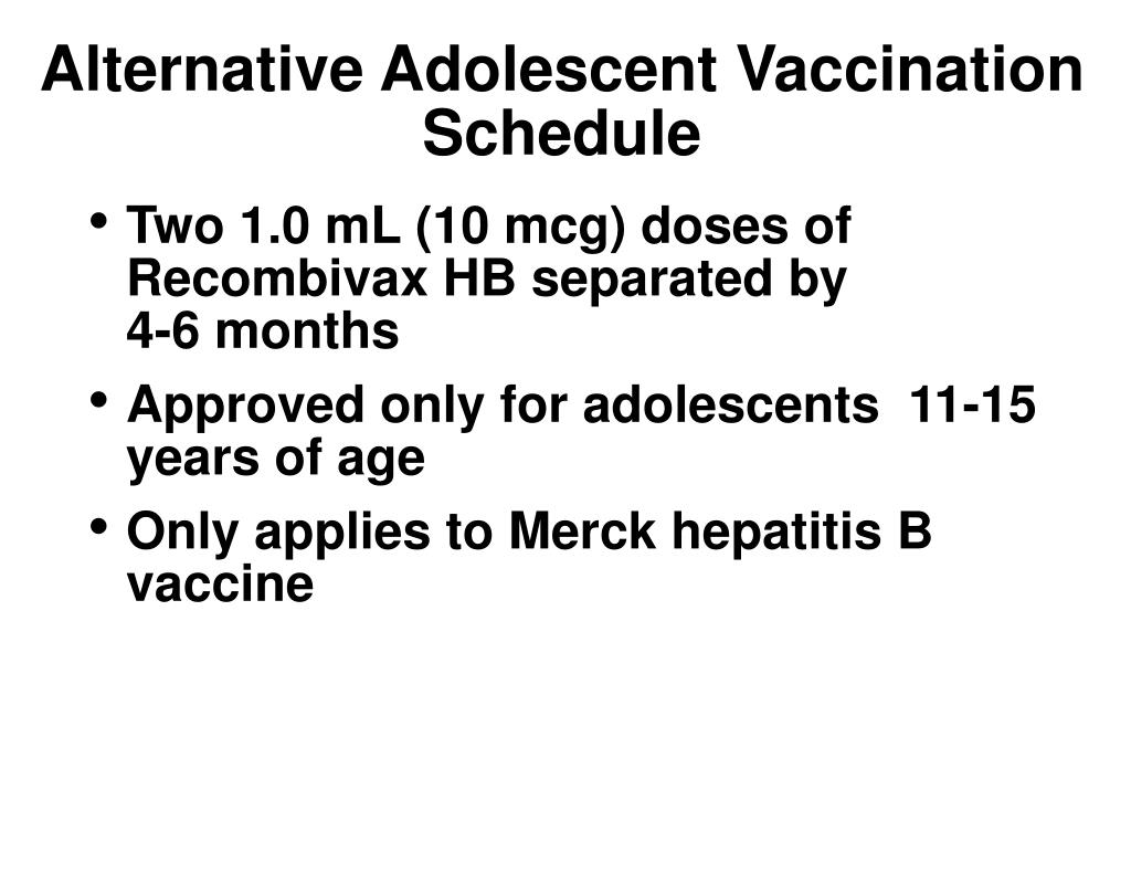 Alternative Adolescent Vaccination Schedule