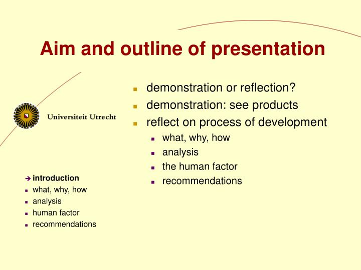 Aim and outline of presentation