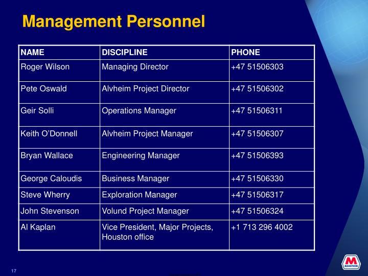Management Personnel