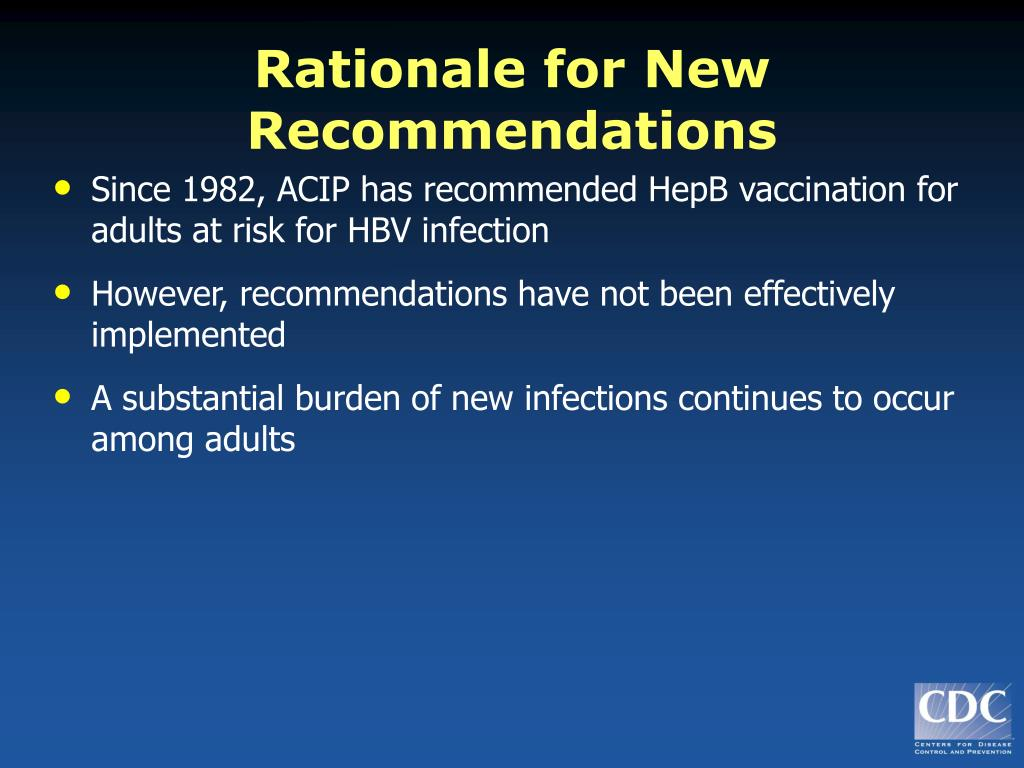 Rationale for New Recommendations