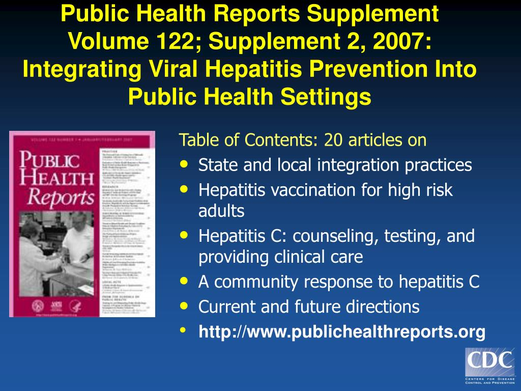 Public Health Reports Supplement