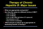 therapy of chronic hepatitis b major issues