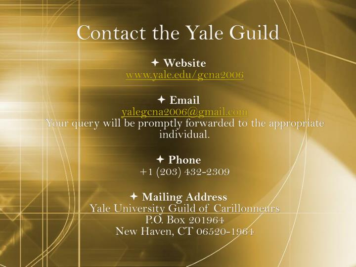 Contact the Yale Guild