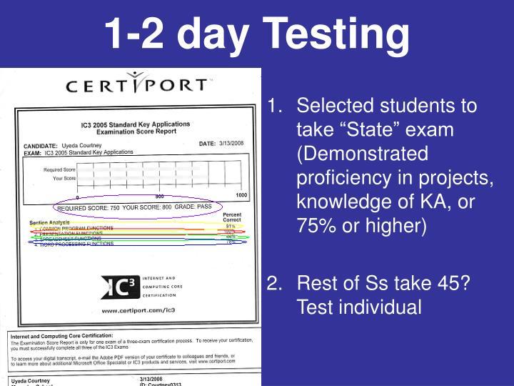 1-2 day Testing