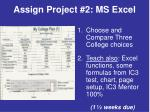 assign project 2 ms excel
