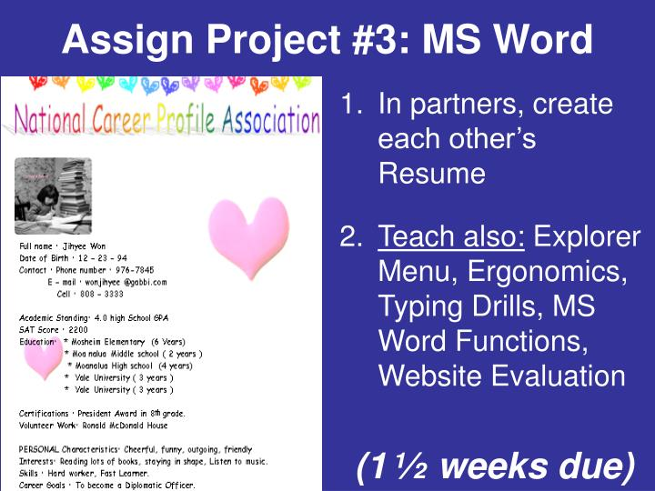 Assign Project #3: MS Word