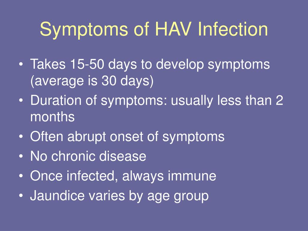 Symptoms of HAV Infection