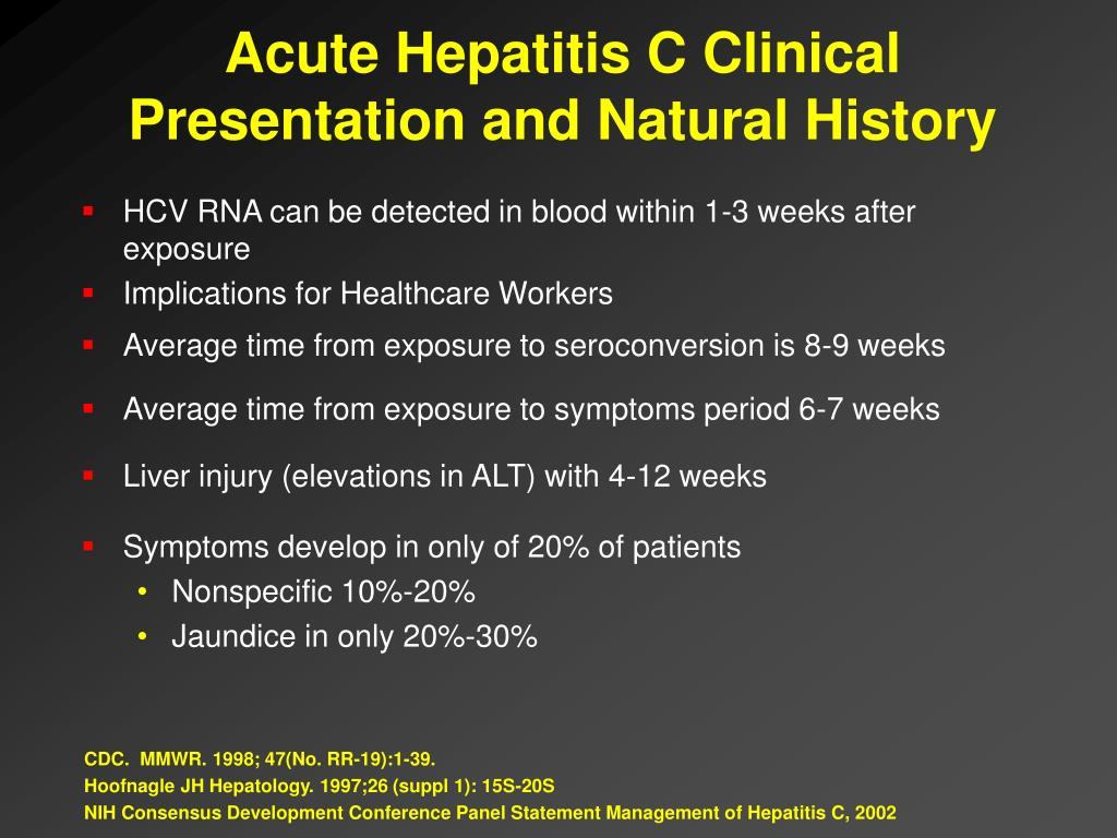 Acute Hepatitis C Clinical Presentation and Natural History