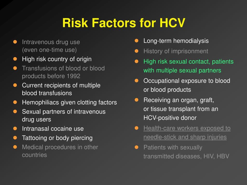 Risk Factors for HCV