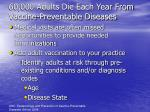 60 000 adults die each year from vaccine preventable diseases