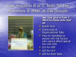 free hepatitis b or c tests for the homeless other at risk groups