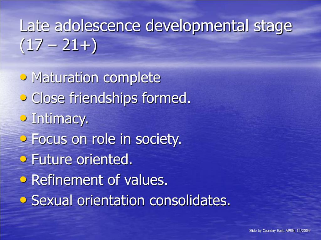 Late adolescence developmental stage (17 – 21+)