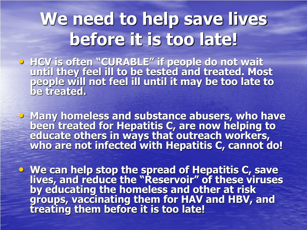 We need to help save lives before it is too late!