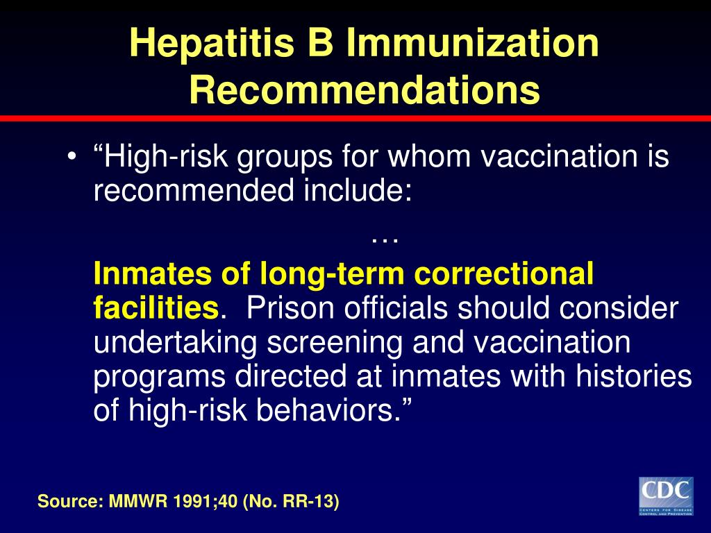 Hepatitis B Immunization Recommendations