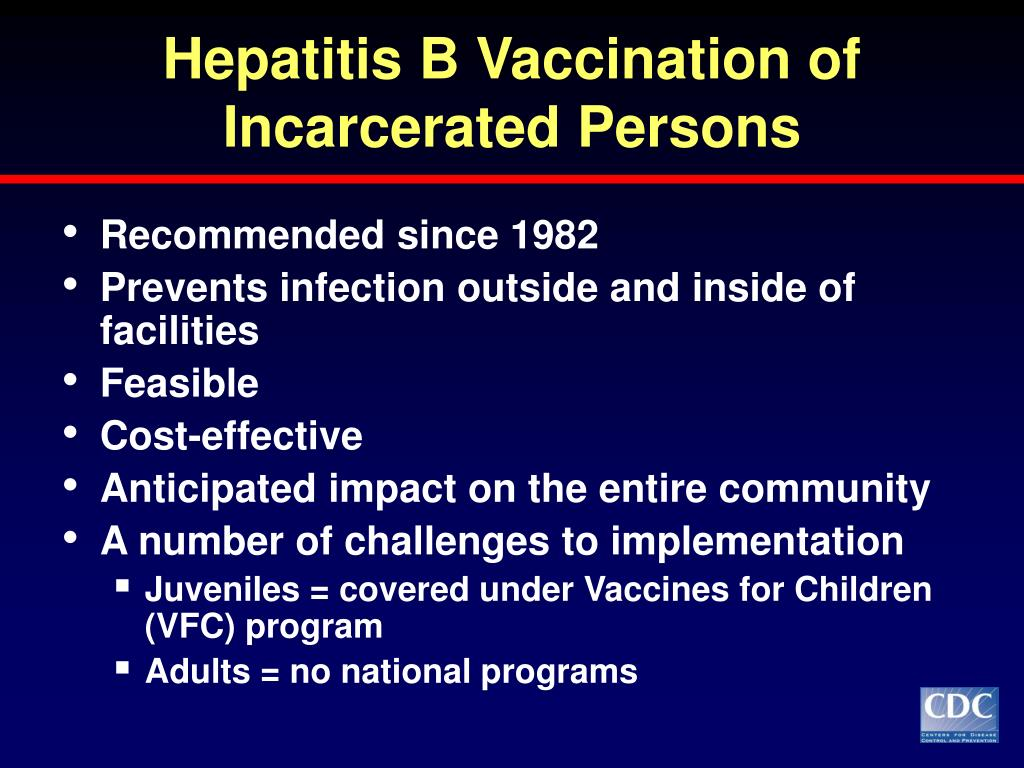 Hepatitis B Vaccination of Incarcerated Persons