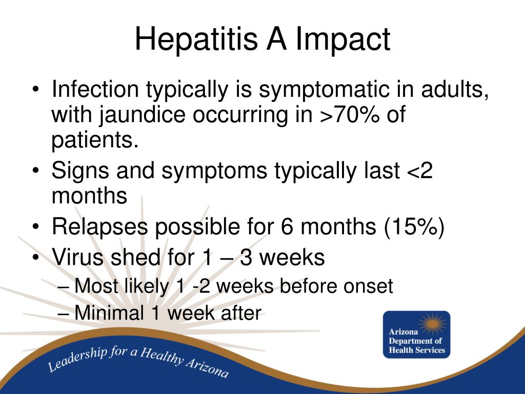 Infection typically is symptomatic in adults, with jaundice occurring in >70% of patients.