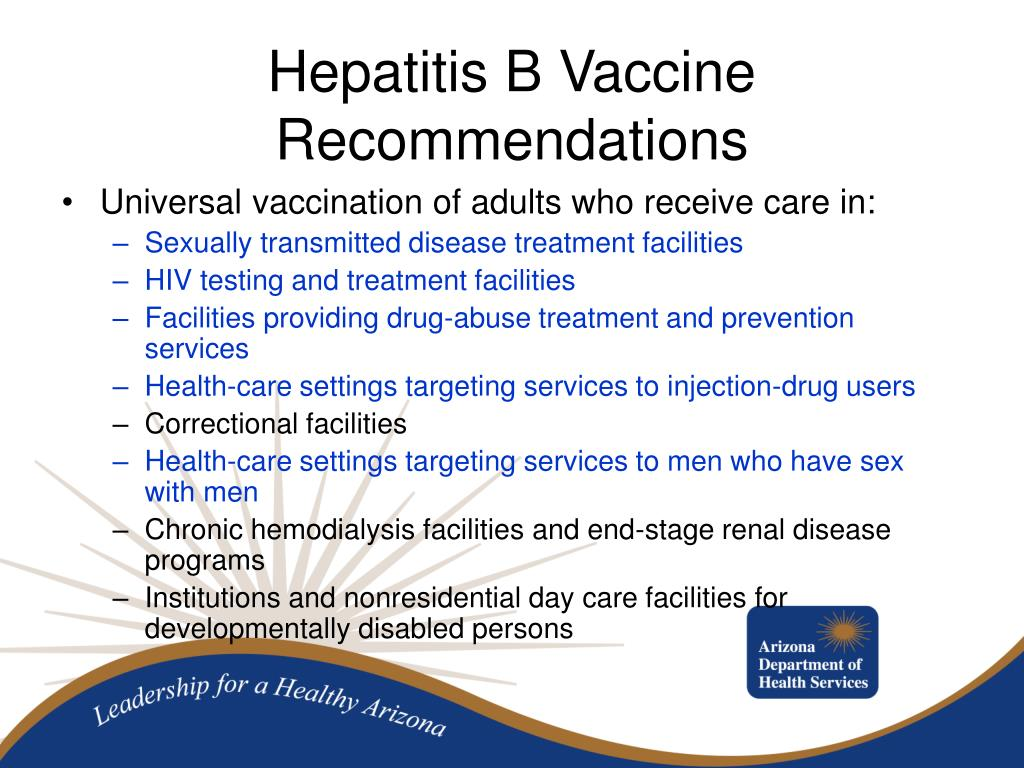 Universal vaccination of adults who receive care in: