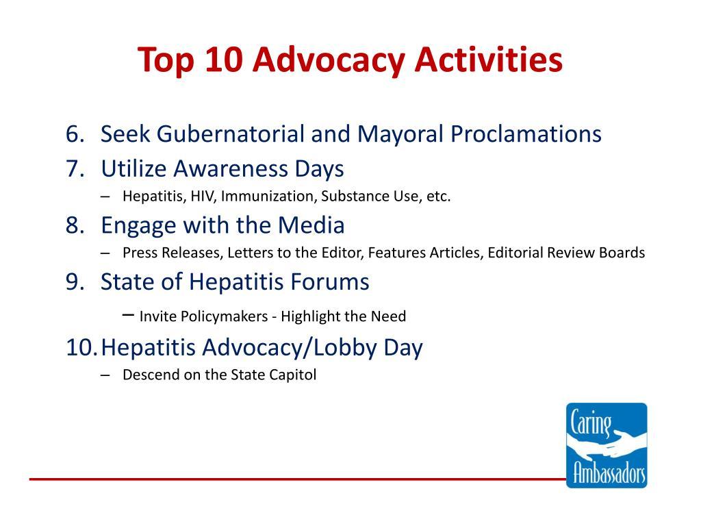 Top 10 Advocacy Activities