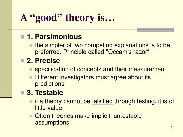 "A ""good"" theory is…"