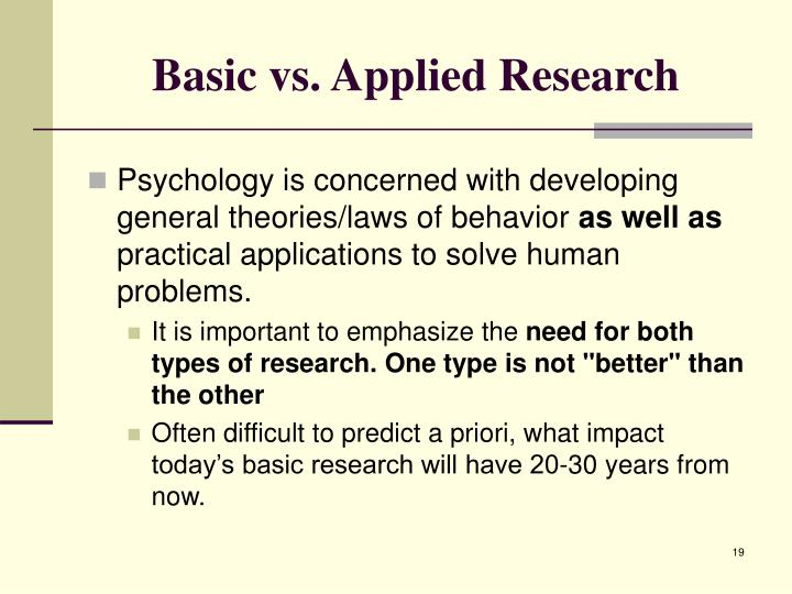 Basic vs. Applied Research