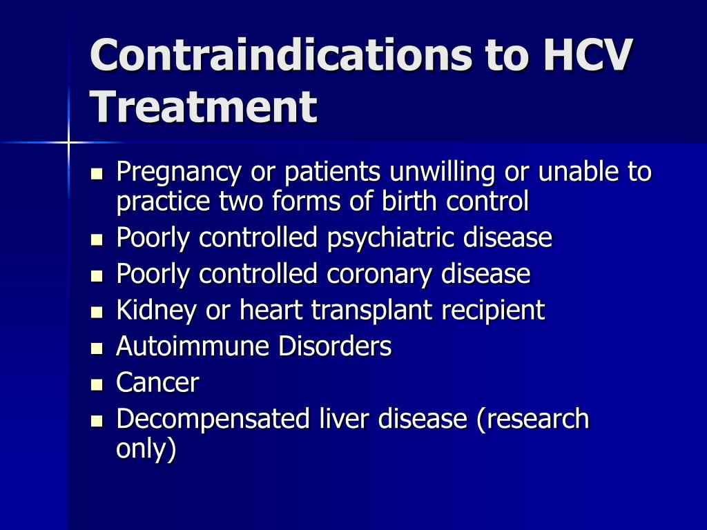 Contraindications to HCV Treatment