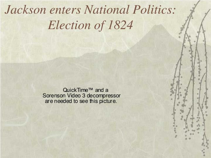 Jackson enters national politics election of 1824