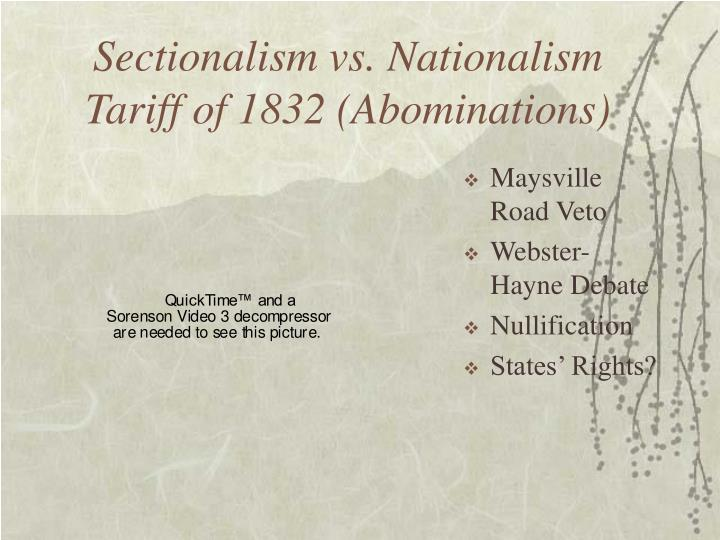 Sectionalism vs. Nationalism