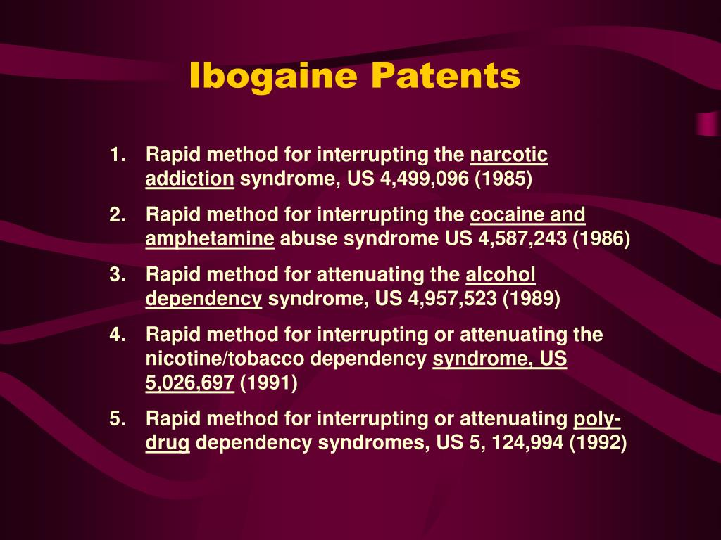 Ibogaine Patents