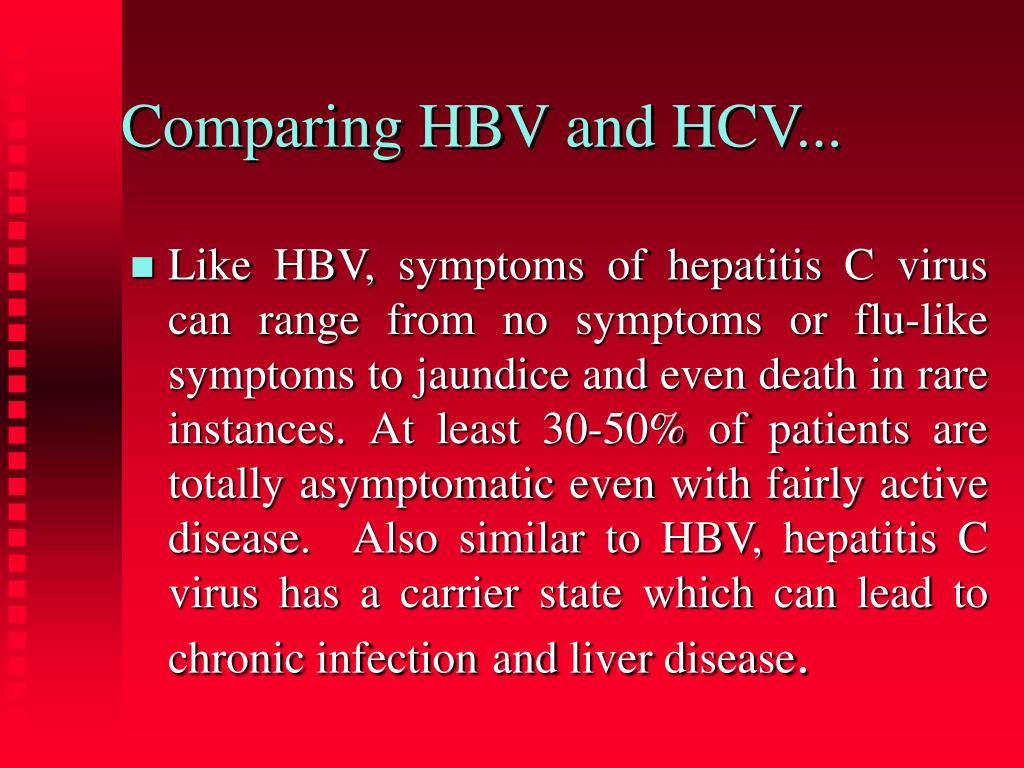 Comparing HBV and HCV...