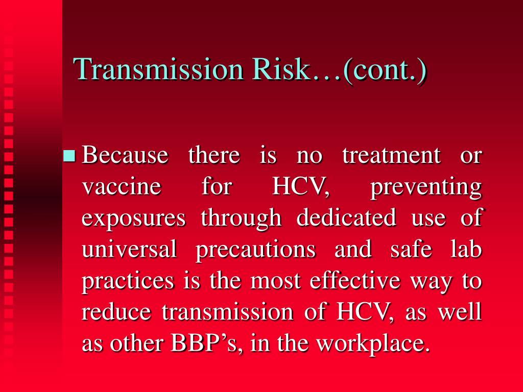 Transmission Risk…(cont.)