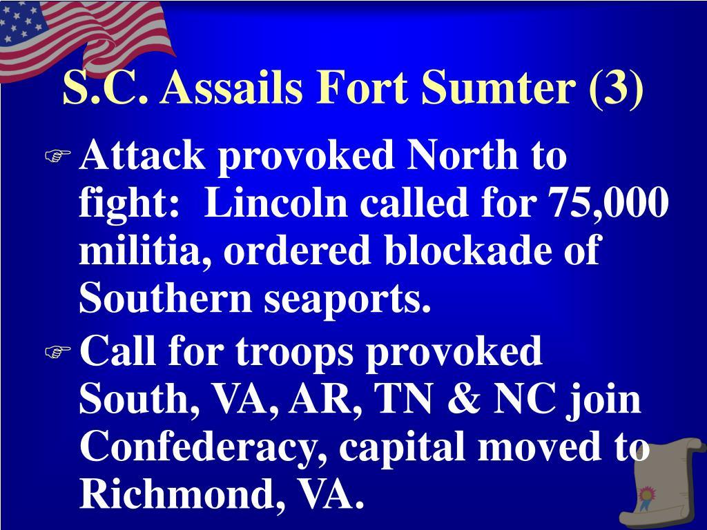 S.C. Assails Fort Sumter (3)