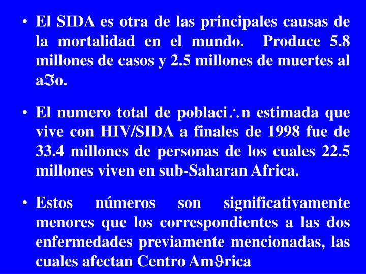 El SIDA es otra de las principales causas de la mortalidad en el mundo.  Produce 5.8 millones de casos