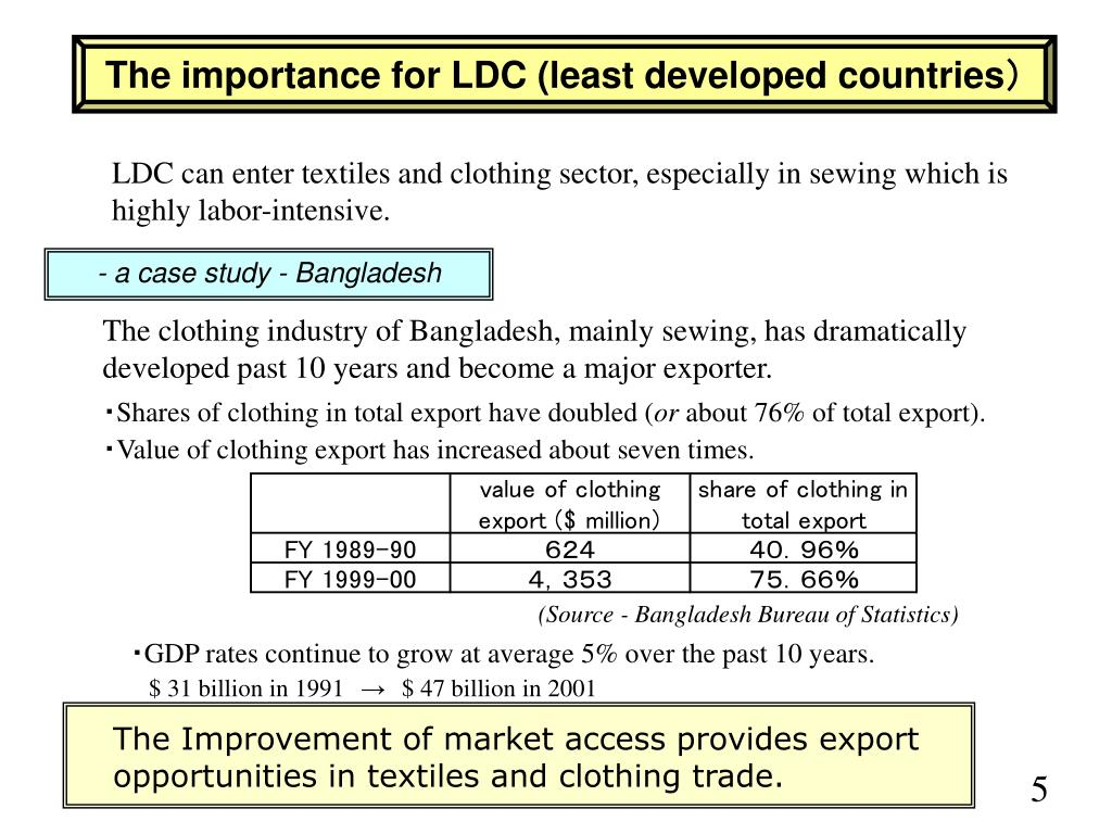 The importance for LDC (least developed countries