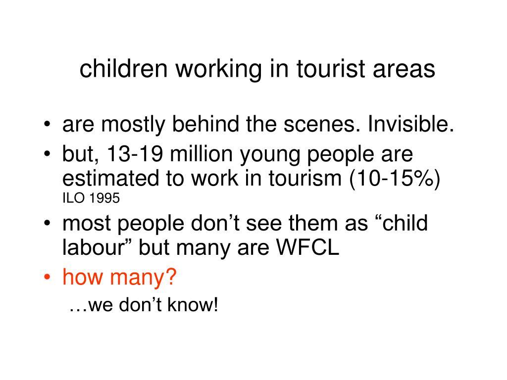 children working in tourist areas
