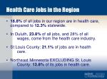 health care jobs in the region