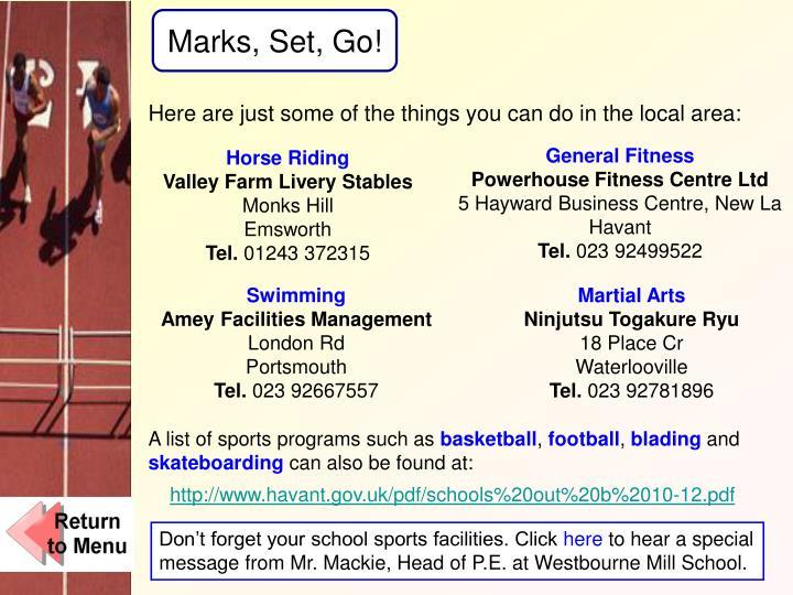 Marks, Set, Go!