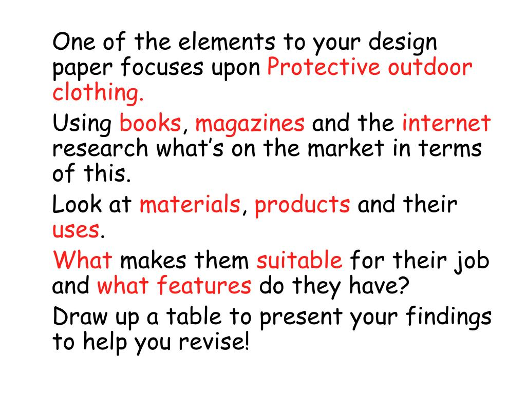 One of the elements to your design paper focuses upon