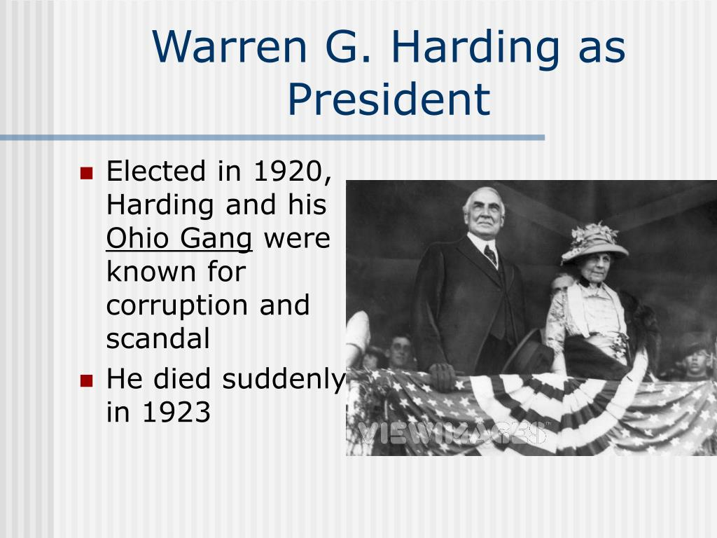 Elected in 1920, Harding and his