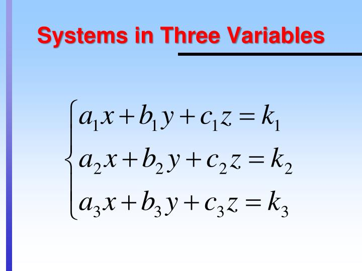 Systems in three variables
