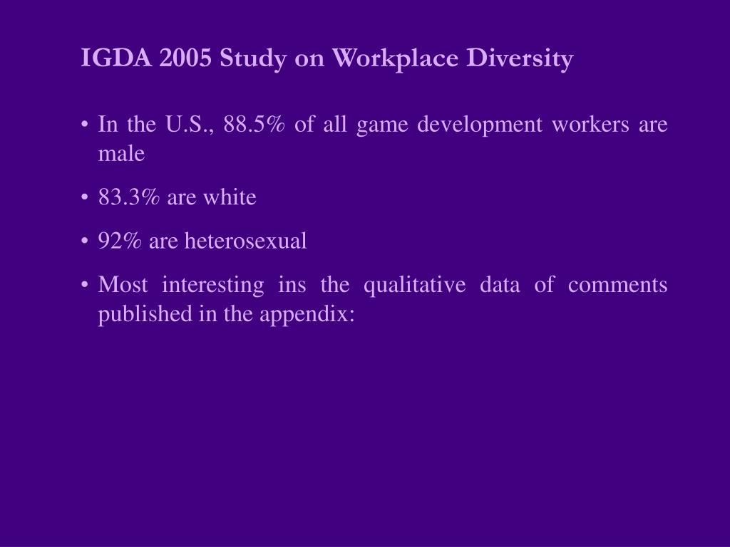 IGDA 2005 Study on Workplace Diversity