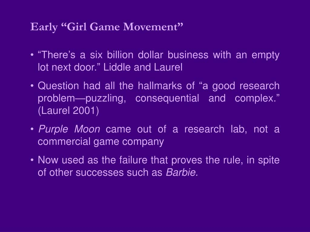 "Early ""Girl Game Movement"""
