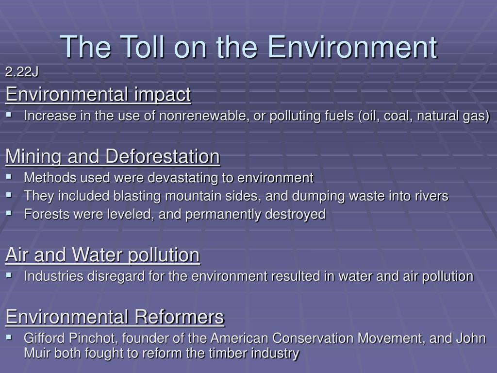The Toll on the Environment