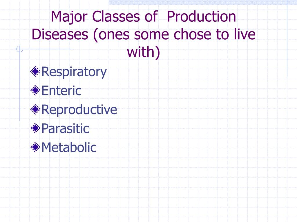 Major Classes of  Production Diseases (ones some chose to live with)