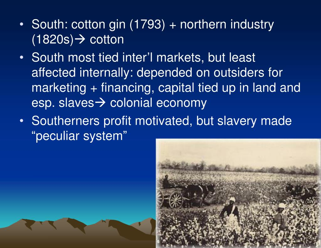 South: cotton gin (1793) + northern industry (1820s)