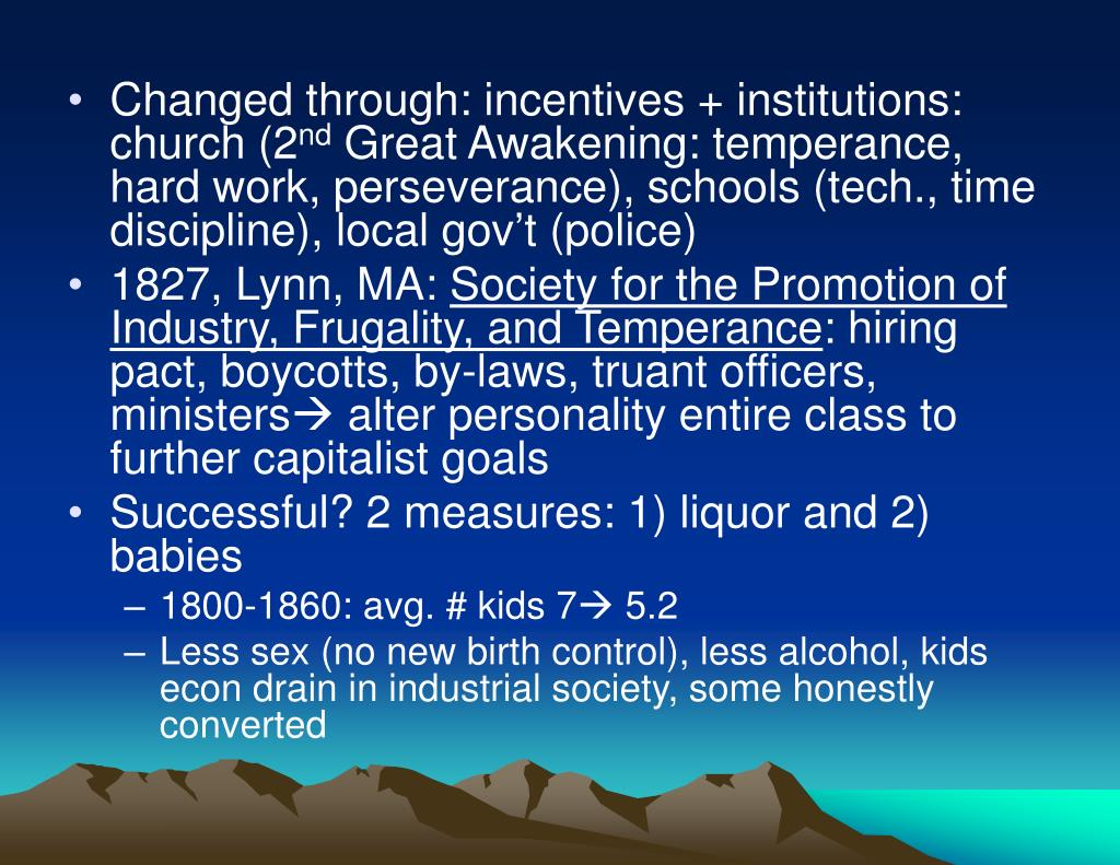 Changed through: incentives + institutions: church