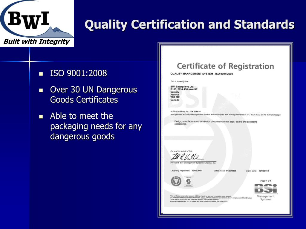 Quality Certification and Standards