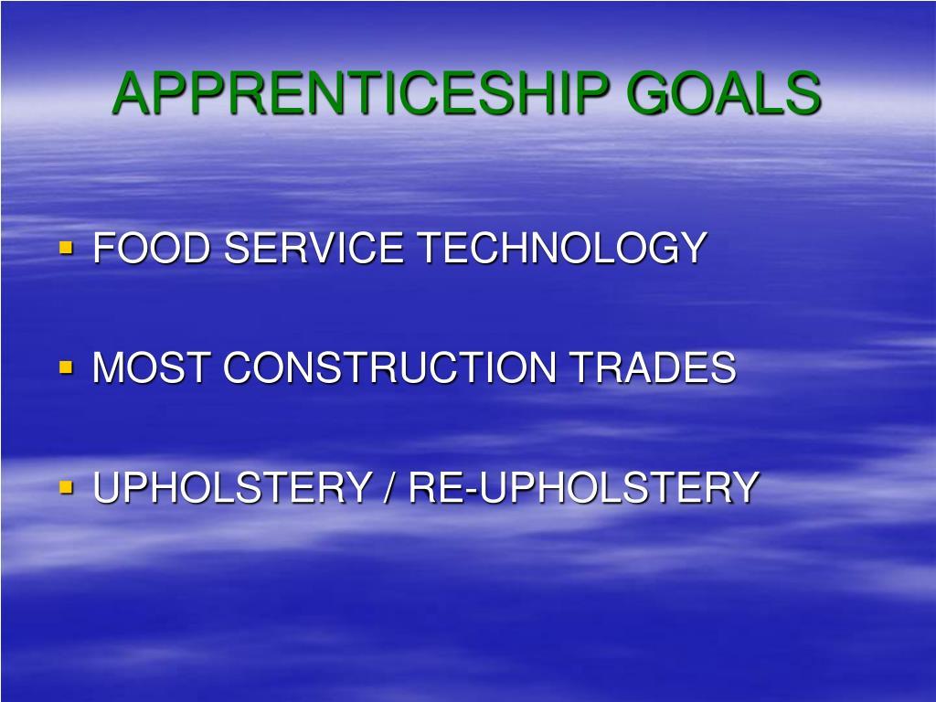 APPRENTICESHIP GOALS