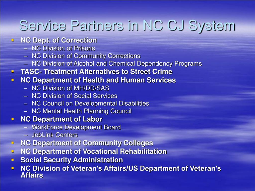 Service Partners in NC CJ System